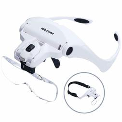 YOCTOSUN Head Mount Magnifier with 2 Led Jeweler's Loupe Lig