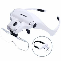 YOCTOSUN Head Mount Magnifier with 2 Led Professional Jewele