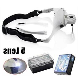 Headband Head Magnifier with 5 Lens LED Light Jeweler Loupe