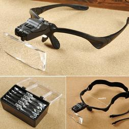 Headband Headset Jeweler Magnifier Magnifying Glass Loupe Gl