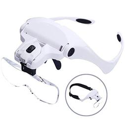 Headband Magnifier With LED Light, Handsfree Reading Head Mo