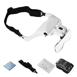 Headband Magnifier with LED Light, Head Mount Magnifier Glas