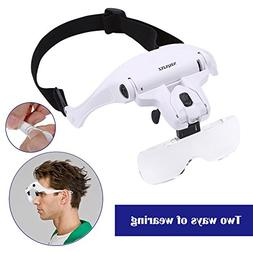 Headband Magnifier Glasses LED Magnifying Loupe Head Mount M