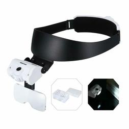 Yoctosun Headband Magnifier With 2 Led Lights And 5 Detachab