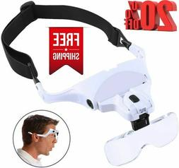 Headband Magnifier with LED Light, SOONHUA Head-Mounted Magn
