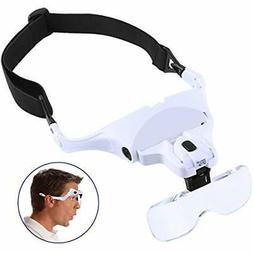 Headband Magnifier With LED Light, Head-Mounted Handsfree Re