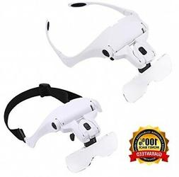 Headband Mount Magnifier LED Illuminated Head Magnifying Gla