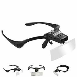 Headhand Magnifier Glasses With 2 LED Professional Jeweler's