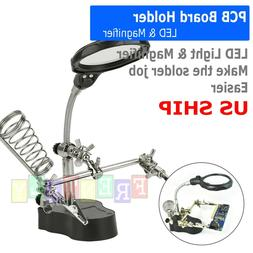 Helping Hand Clamp LED Magnifying Glass Soldering Iron Stand
