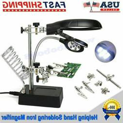 LED Helping Hand Clamp Magnifying Glass Soldering Iron Stand