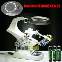 Helping Hand LED Magnifying Soldering IRON STAND Lens Magnif