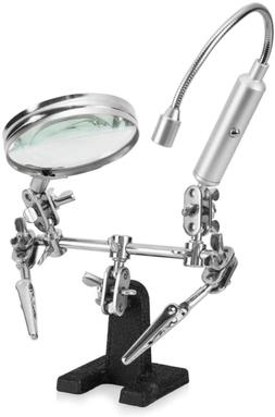 Helping Hand Magnifier Glass Stand Flexible Neck LED Flashli