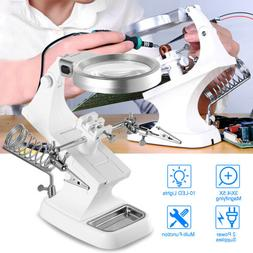 LED Helping Hand Magnifying Soldering IRON Stand Lens Magnif