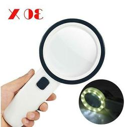 Illuminated Large Magnifying Glass Handheld W/12 LED Light f