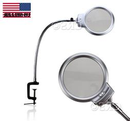 ILLUMINATED MAGNIFYING CLAMP ON TABLE DESK LAMP LED LIGHTED