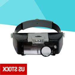 jewelers head headband led magnifier magnifying glasses
