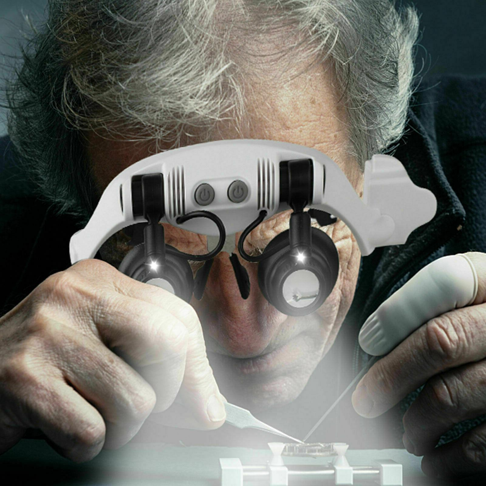 Headband Head Magnifier 8 Lens LED Watch Magnifying Glasses