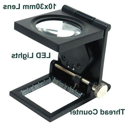 10X 30mm Lighted Magnifier Photo Sewing Counter