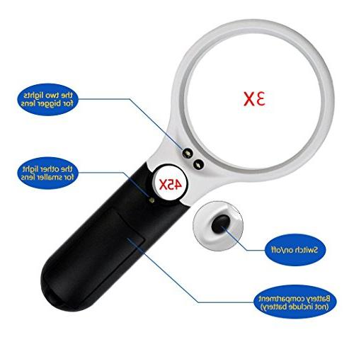 obmwang 3x 45x Illuminated Magnifying Lens for Reading, Black and White