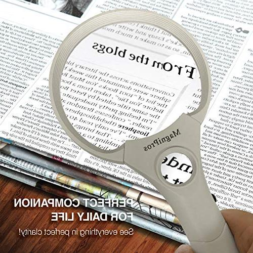 MagniPros LED 25X Power Handheld Reading Magnifying Ideal for Reading Small Prints, Inspection and