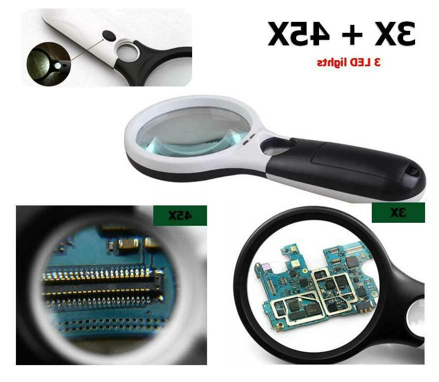45X Magnifying Glass Magnifier LED