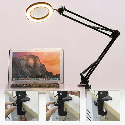 5X Magnifying Glass Lamp Light Reading Clamp