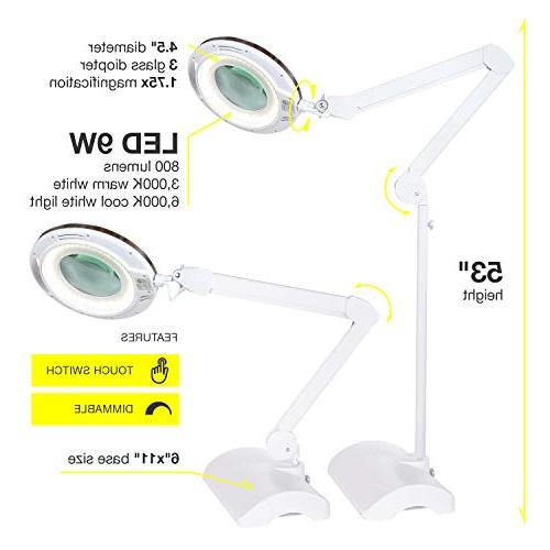 Brightech Lightview in - Magnifying Glass Reading Converts From Floor Lamp - Diopter Glass Magnifier With Bright Crafts Professional
