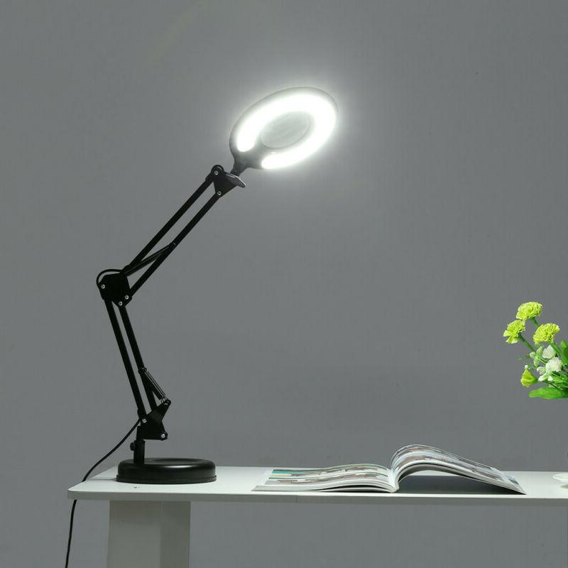 5X Desk Table Mount LED Lamp Magnifying Glass Lens Diopter