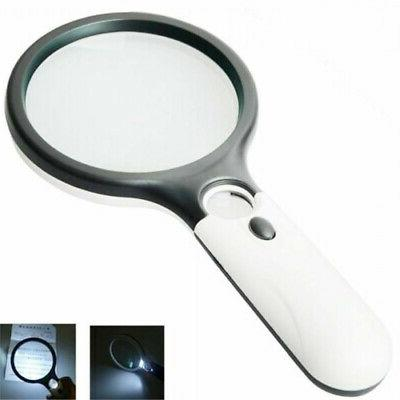 Beileshi 3X 45X Handheld 3 LED Light Magnifier Read Magnify