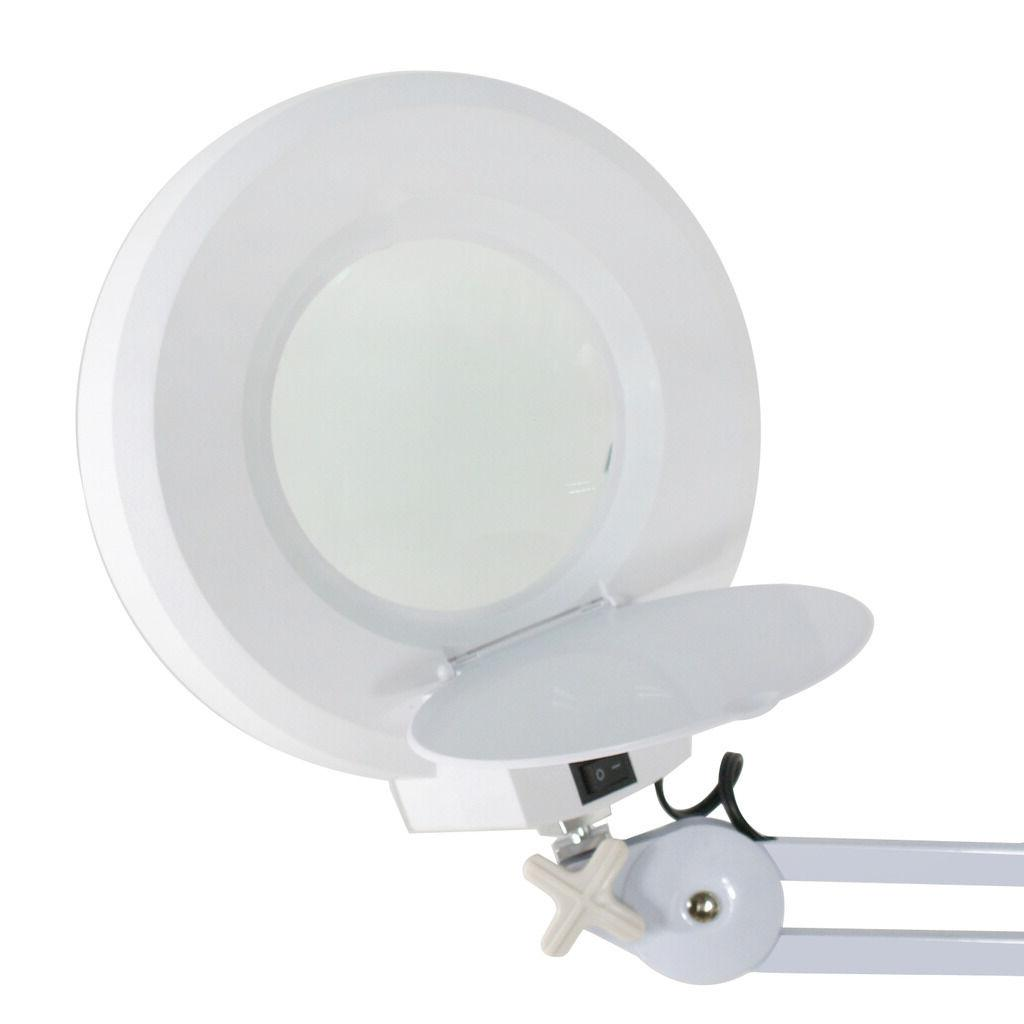 5X Rolling Stand Magnifier Lamp Light Glass Lens