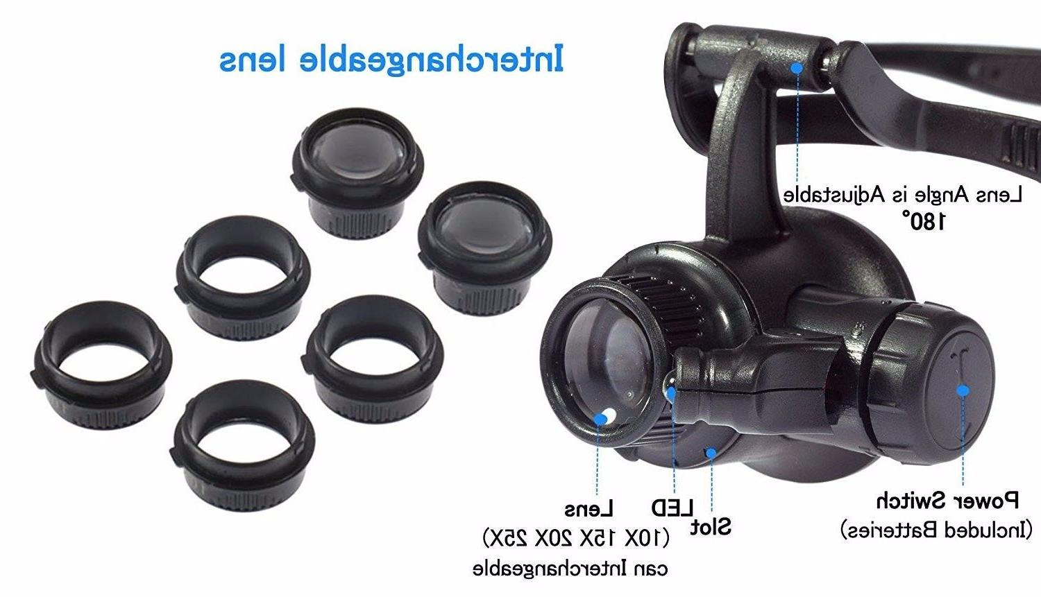 Double Jewelry Repair Loupe With Light Lens US