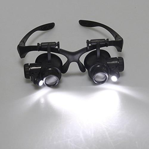 Double Eye Repair Magnifier Loupe Jeweler Magnifying Glasses Tool LED Light 20X 25X