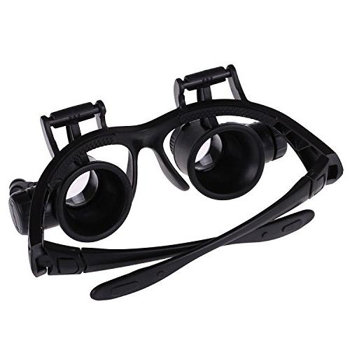 Double Watch Repair Magnifier Loupe Jeweler Glasses Tool Set LED Light 20X 25X