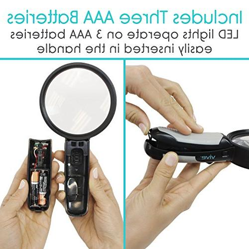 Vive 5X Magnifying with Light Illuminated Coin, - Jewelers Loupe, - Large, Aid Pocket Map, Book,