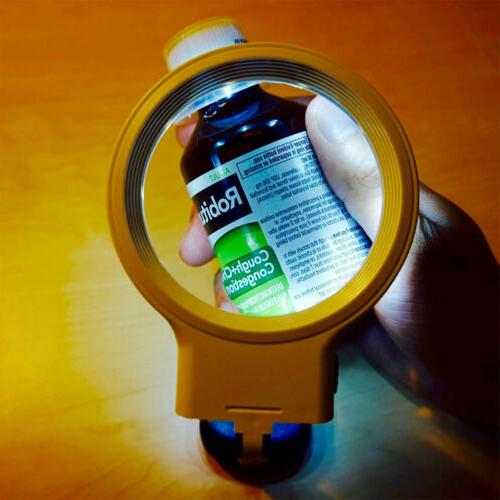 Hands Magnifying Glass 4X for Reading with Light