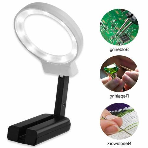 LED Lighted Hands Free Magnifying Glass 4X Portable Illumina