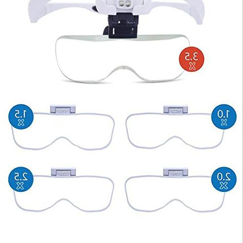 Head Magnifier Glasses, Head Mount Light for Reading Headband Magnifier Jewelers, Repair, Hobby, 1.0X,1.5X,2.0X,2.5X,3.5X