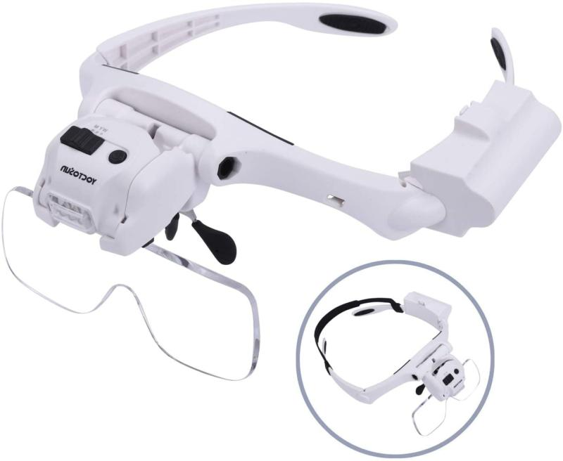 head magnifier with 5 led lights hands