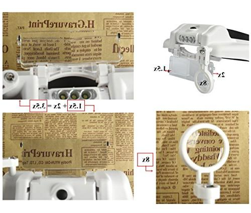 Beileshi Magnifier LED Light 1.5x 2x Stacking, Wear Glasses When for Repair, Appraisal, Clock and