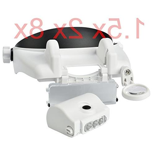 Beileshi Headband LED Light Magnifying 1.5x 2x Lens Stacking, When Use, Reading,Electronic Repair, Jewelry and Repair,