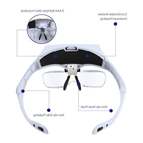 Headband Magnifier with LED Light, SOONHUA Magnifier Handsfree for Close Loupe Glasses 5 Replaceable Lenses