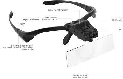 Headband Magnifier Magnifying with for Close Work, SOONHUA with