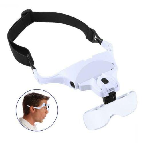headband magnifier with led light head mounted