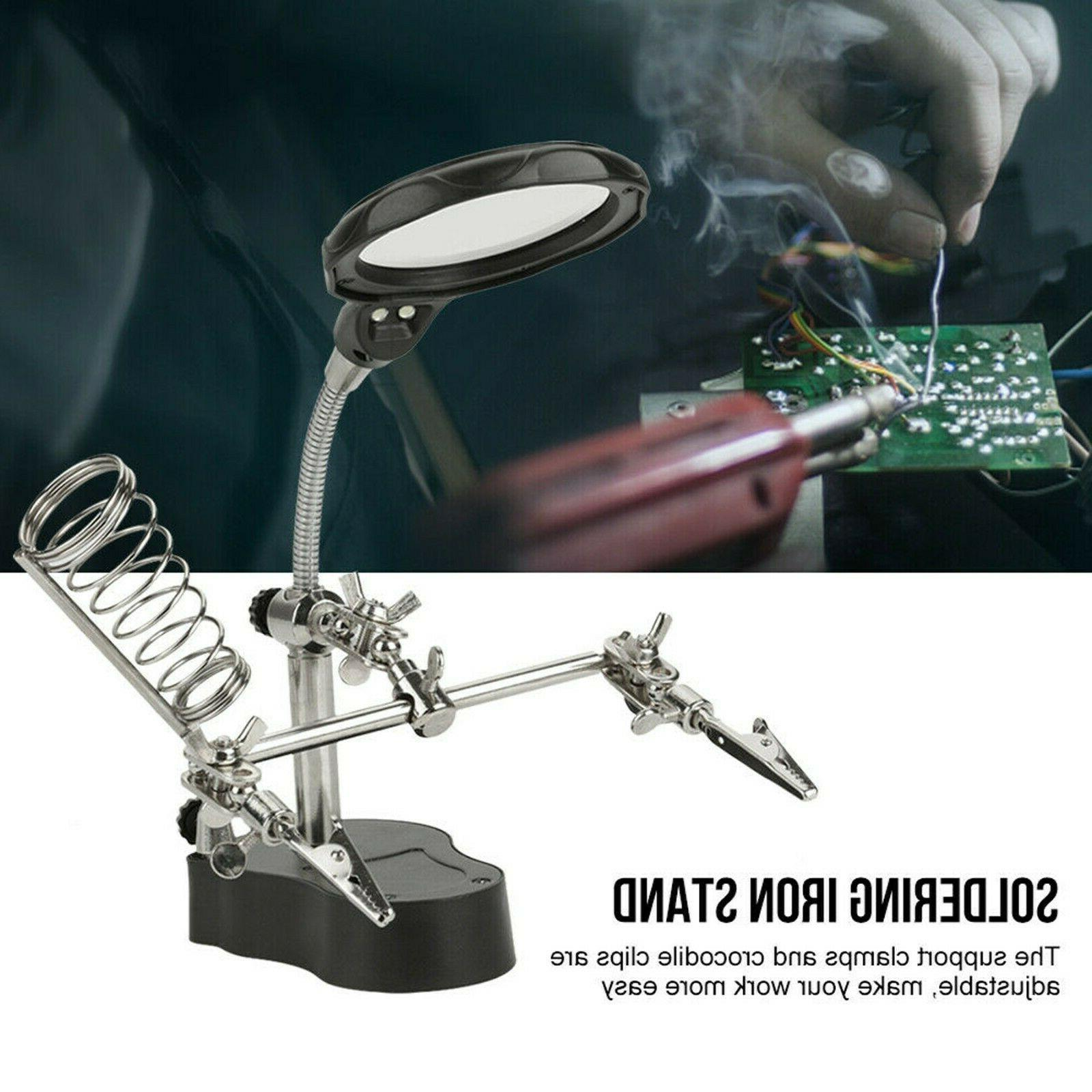 Helping Hand Clamp Magnifying Soldering Stand Len
