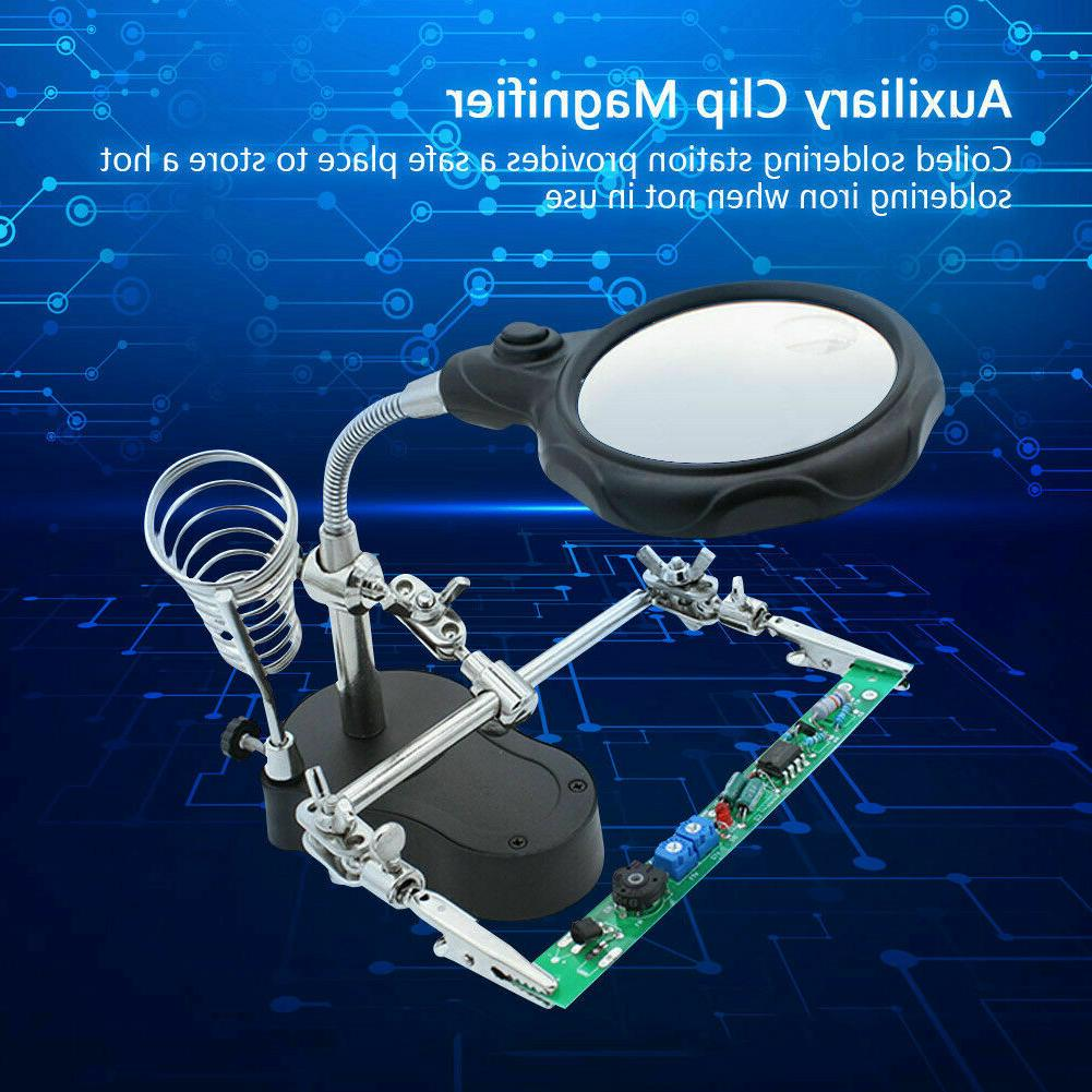 Helping Hand Magnifying Glass Iron Stand Len Tools