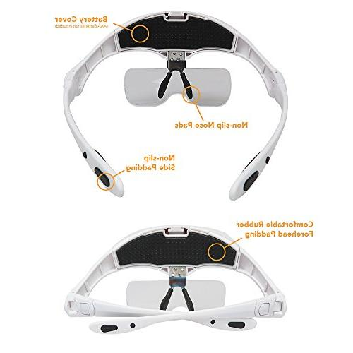 MagniPros LED Magnifier with Detachable 1X, 2X, Hands-Free Head Lighted Magnifying