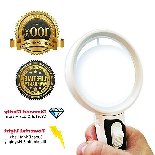 LED Glass Set. Best Magnifier with Lights Seniors, Macular Degeneration, Maps, Jewelry, Watch Hobbies, Stamps