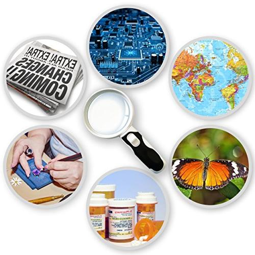 LED Illuminated Magnifying Set. with Lights for Degeneration, Jewelry, Watch Hobbies, )