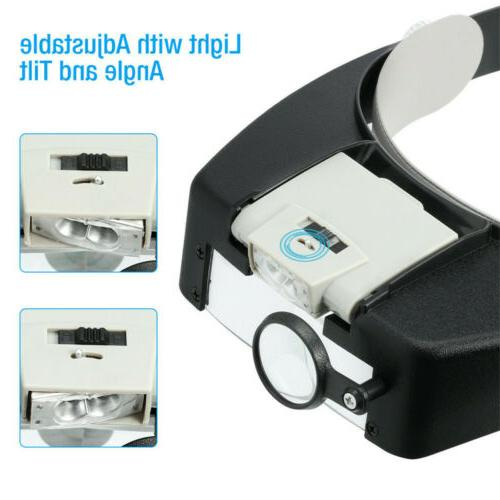 Jewelers Head Headband LED Glasses Loupe