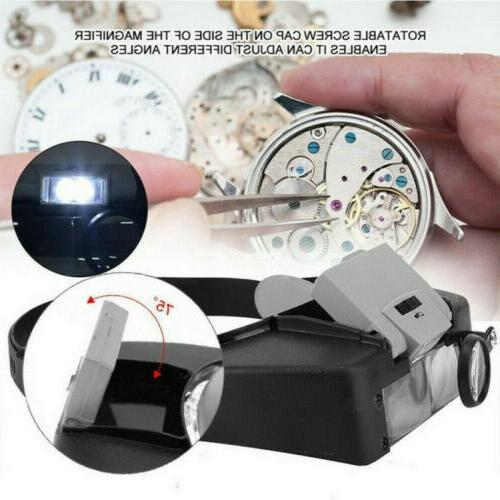 Jewelers Head Magnifier LED Illuminated Glasses Loupe